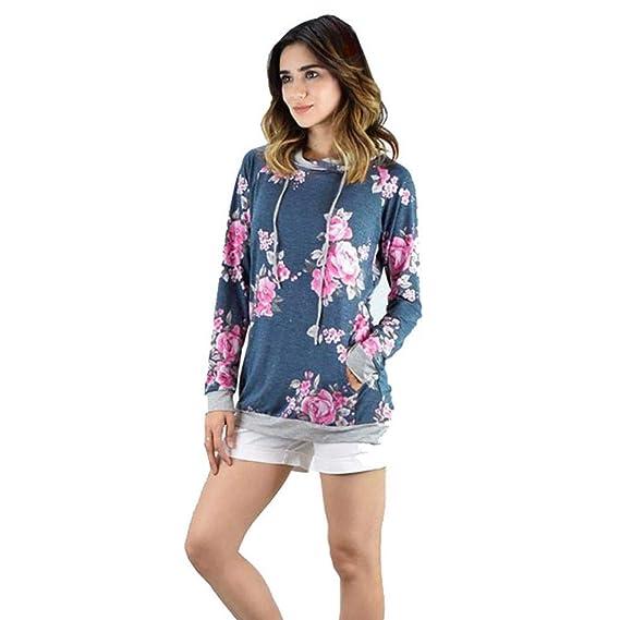 MEIbax Mujeres Estampacišn Floral Suelta Sudadera con Capucha Blusa Jersey Tops Camiseta: Amazon.es: Ropa y accesorios
