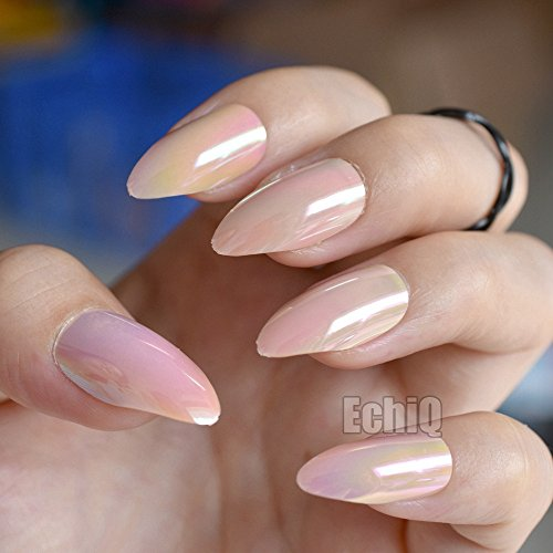 Chrome Nude Fake Ladies Nails Stiletto Shining Surface Point Acrylic Nail Art Tips 24pcs in box to Be Manicure Artist easily