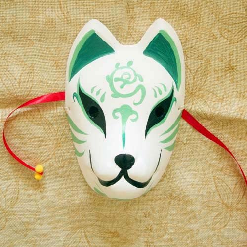 2015 - Full Face Hand-Painted Japanese Fox Mask Kitsune Masquerade Green Color for Party Carnival Halloween