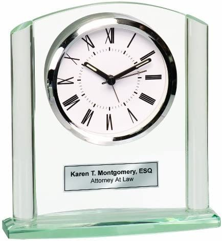 AllGiftFrames Engraved Glass Clock Silver Basel Arch Silver Etching Retirement Appreciation Anniversary Service Award Recognition Wedding Graduation Table Clock