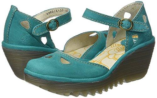 Chaussures London Fly Cale Vert Yuna Cuir Femmes Sandales vvrBwx