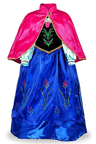 Padete Little Girls Anna Princess Dress Elsa Snow Party Queen Halloween Costume (8 Years, Navy -