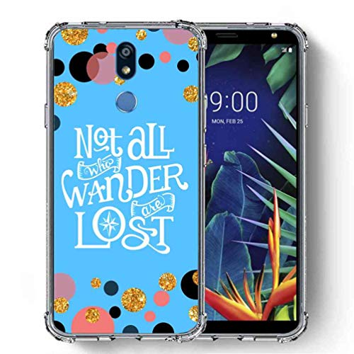 for LG K40 Case, LG K12+ Case, LG K12 Plus Case, LG X4 (2019) Case, SuperbBeast Ultra Slim Thin Protective Case w/Reinforced Corners Vector Floral Flowers Polka Dots [Glitter Pattern] ()