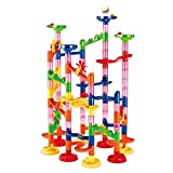 KOBWA Marble Run Set, 105 Pcs Marble Runs Toy Set, Marble Game STEM Learning Toy, Educational Construction Building Blocks Toy, Marble Set Gift for Kids