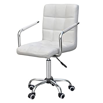 Amazoncom Gobuy Rolling White Modern Ergonomic Swivel Leather - Office computer chairs