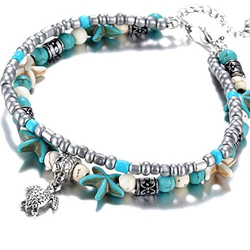 Bohémiennes Couches Multiples Starfish Tortue Perles Bracelets de Cheville de Plage Bijoux Pied Bracelet en chaîne Regard