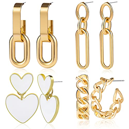 CHANBO 4 Pairs Heart-shaped, Semi-circular, Oval and 3-dimensional Statement Earrings For Women Girls Statement Drop Dangle Earrings For Women 2021 Fashion Jewelry