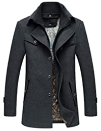 Oncefirst Men's Solid Color Stand Collar Wool Trench Coat