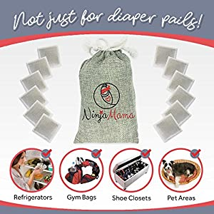 Diaper Pail Deodorizers. Fits Diaper Genie Ubbi & More Bamboo Air Purifier Deodorizing Carbon Charcoal Filters, Odor Eliminating Refills for Disposable & Cloth Diapers, Trash Cans & Shoes. Free Holder