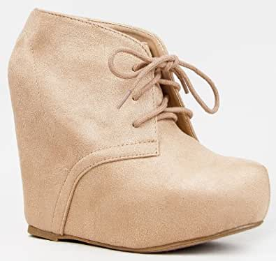 Soda PAGER Classic Basic Lace Up Hidden Platform Wedge High Heel Ankle Boot Bootie,Pager Oatmeal ISU 6