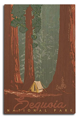 Lantern Press Sequoia National Park, California - Redwood Forest View - Sequoias and Tent (10x15 Wood Wall Sign, Wall Decor Ready to Hang)