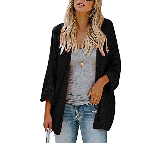 Polyester Sleeve Women Cardigan Solid Elegant Black Fit Loose Long Tops Coat Knitted Wild Xmiral wdEYZqHY