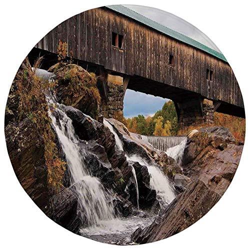 (Round Rug Mat Carpet,Landscape,Old Rustic Oak Covered Bridge Over Cascading Waterfalls Rock Fall Season American City,Brown,Flannel Microfiber Non-Slip Soft Absorbent,for Kitchen Floor Bathroom)