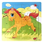 Gbell Wooden Puzzle Set for Preschool Toddler Boys Girls,Cute Animal & Helicopter Jigsaw Board Educational Training Toy Gifts for 1-3 Year Old Baby Kids,Pony Dog Goose Snail Panda Puzzles