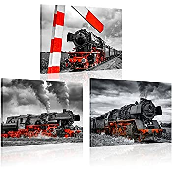 iKNOW FOTO 3 Piece Canvas Wall Art Black and Red Steam Locomotive Train Poster Pritns Old Vintage Steam Engine Pictures Modern Home Decor Stretched and Framed Ready to Hang 12x16inchx3pcs