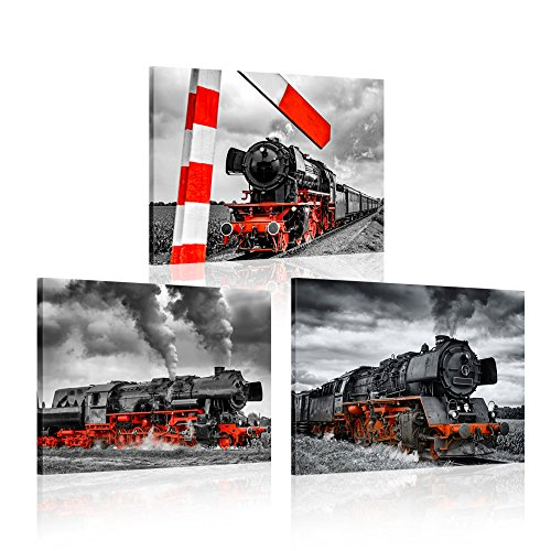 (iK Canvs 3 Piece Canvas Wall Art Black and Red Steam Locomotive Train Poster Pritns Old Vintage Steam Engine Pictures Modern Home Decor Stretched and Framed Ready to Hang 12x16inchx3pcs )