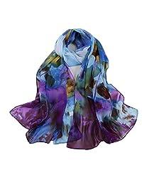 Women's Scarf, ABC Women's Fashion printing Soft Long Wrap Scarf Lady Silk Chiffon Shawl Scarves (Blue )