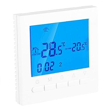 FTVOGUE WiFi eléctrico Calefacción Termostato botón Versión Digital Termostato Suelo Radiante Pared Calefacción LED Color Blanco