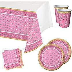 Pink Bandana Cowgirl Tableware Party Bundle for 16: Includes Plates, Napkins, Cups, and Tablecover