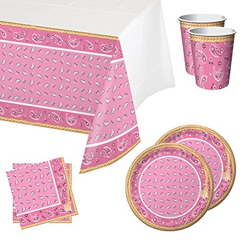Pink Cowgirl Party Supplies (Pink Bandana Cowgirl Tableware Party Bundle for 16: Includes Plates, Napkins, Cups, and)