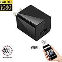Mini Wifi Hidden Camera, Topyea 1080P HD Camera Plug Wall Charger Video Recorder Wireless Real-time Remote See Live Nanny Cam Support Android/iOS with 16G Internal Memory for Home Security