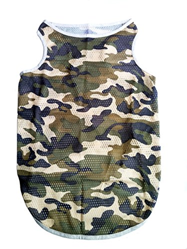 - Petroom Dog Camouflage Grid Vest for Large Dogs,Dog Summer Breathable Gilet,Dog Sleeveless T Shirt Brown Camo 5XL