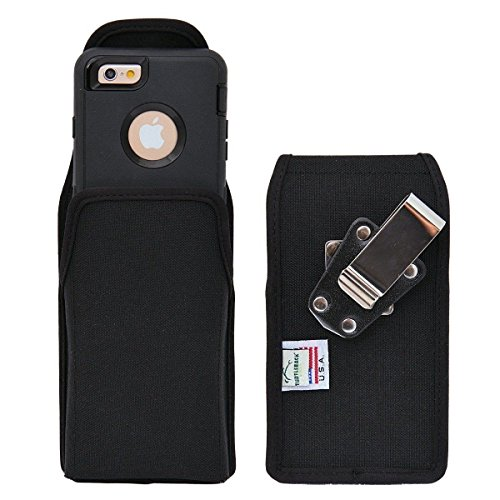 (Turtleback Belt Clip Case Compatible with Apple iPhone 6s, iPhone 6 w/Otterbox Defender case Black Vertical Holster Nylon Pouch with Heavy Duty Rotating Belt Clip Made in USA )