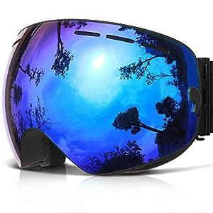 Ski Goggles,COPOZZ G1 Mens Womens Ski Snowboard Snowboarding Goggles - Over Glasses Double Lens Anti Fog Frameless,Cool REVO Mirror Black Blue For Men Women Youth Snowmobile Skiing