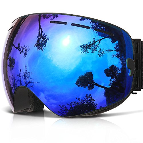 COPOZZ Ski Goggles, G1 OTG Snowboard Snow Goggles for Men Women Youth Anti-Fog UV Protection, Polarized Lens Available (G1 Ski Goggles Black Frame/Blue Lens (VLT 24.5%), G1 Ski Goggles)