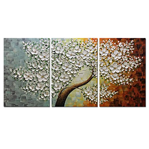 Oil Canvas Wall - V-inspire Paintings, 20x30Inchx3 Paintings Oil Hand Painting 3D Hand-Painted On Canvas Abstract Artwork Art Wood Inside Framed Hanging Wall Decoration Abstract Painting