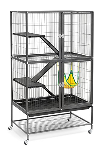 (Prevue Hendryx 485 Pet Products Feisty Ferret Home with Stand, Black Hammertone)