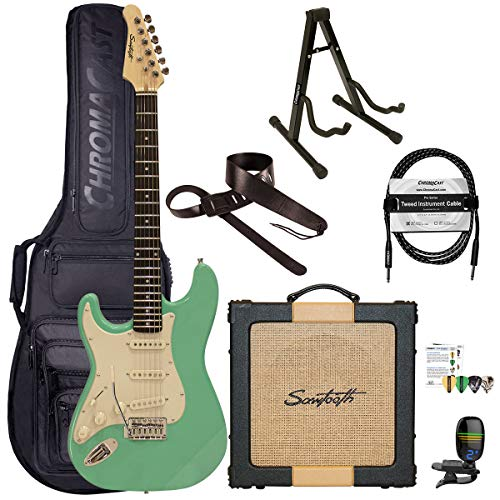 Sawtooth Classic ES60 Left Handed Surf Green Guitar Players Pack