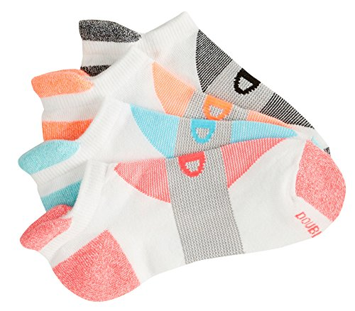 Champion Women's Double Dry 4-Pack Performance Heel Shield Socks, White/Grey Stripe, 5-9 (Womens Running Shoes Champion compare prices)