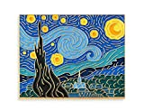 Pinsanity Van Gogh Starry Night Painting Enamel Lapel Pin,Multi,1.75 inch