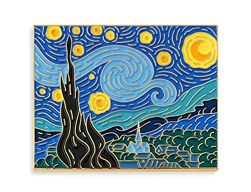 (Pinsanity Van Gogh Starry Night Painting Enamel Lapel Pin,Multi,1.75 inch)