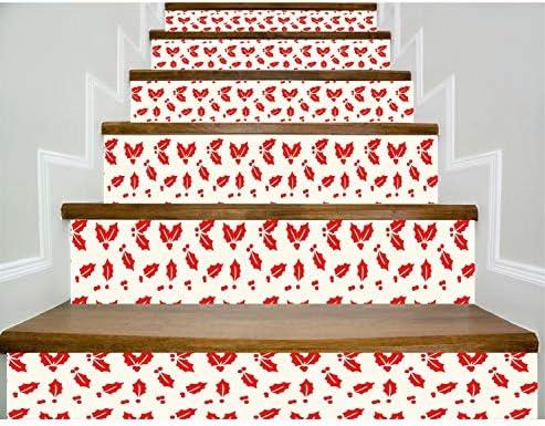 HLD 壁画アートデカールビニールホームデコレーションDIY生活 - 18 CmのX 100センチメートル - 6個ベッドルームキッチンデコール壁紙ウォールステッカーリムーバブル自己粘着ファミリー階段ステッカー防水ファッション自己接着防水フロアステッカー 階段ステッカー (Color : A)