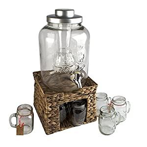 Artland Garden Terrace 3 Gal. Glass Bev Dispenser with Chiller/Infuser, Water Hyacinth Stand, and 6-Glass Mason Jar Mugs 15 oz.