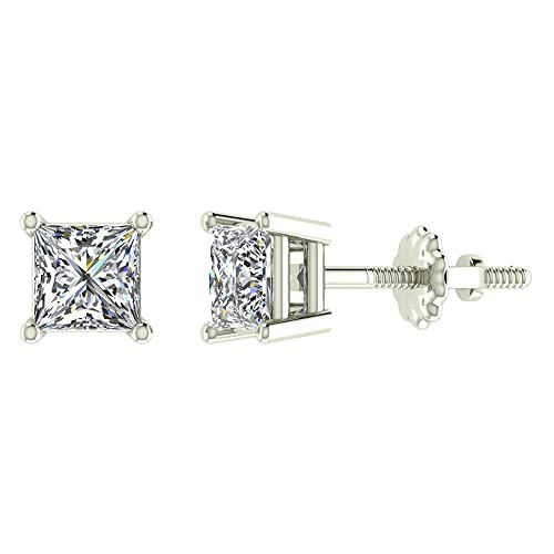 Princess Cut Diamond Stud Earr...