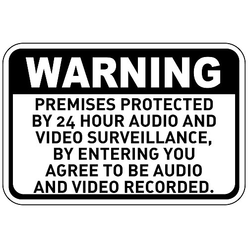Warning Premises Protected by 24 Hour Audio and Video Metal Aluminum Sign 7 in x 10 in Custom Warning & Saftey Sign Pre-drilled Holes for Easy mounting (Audio Destination)