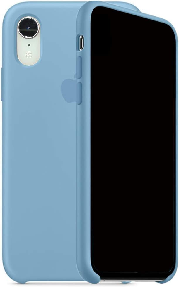 Mespirit Silicone Case Compatible for iPhone XR, Liquid Silicone Non-Slip and Drop-Proof Simple Style Compatible with iPhone XR-6.1 inch (Cornflower)