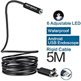 Fantronics 5M Rigid Cable Android Borescope Endoscope Camera, Waterproof OTG Micro USB Inspection Camera Snake Camera with 6 Adjustable LEDs