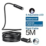 Image of Fantronics 5M Rigid Cable Android Borescope Endoscope Camera, Waterproof OTG Micro USB Inspection Camera Snake Camera with 6 Adjustable LEDs