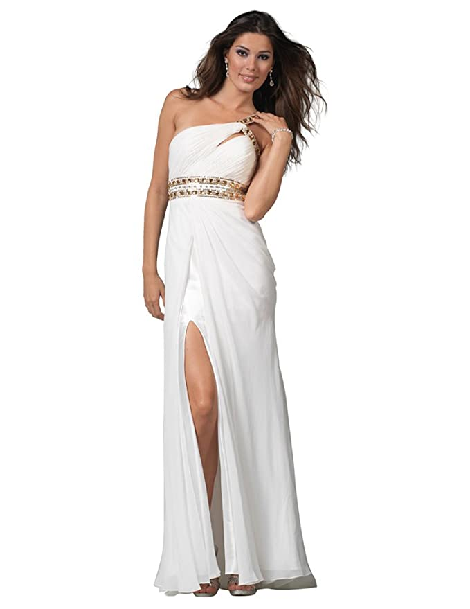 Amazon Clarisse One Shoulder Ivory Gown 1501 Clothing