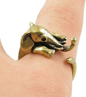 Minzhi Lovely Women Cartoon Elephant Rings Cute Girl Adjustable Rings Unisex Prom Wedding Night Party Jewelry