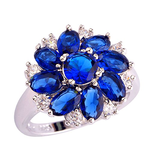 Psiroy 925 Sterling Silver Created Blue Sapphire Filled Cluster Flower Shaped Ring Size 10
