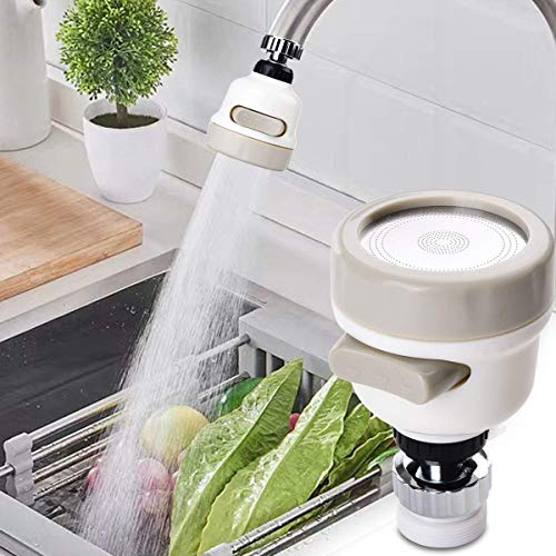 ZIXAD 360° Rotatable Flexible Kitchen Sprayer Tap Head Movable Sink Faucet ABS Removable Anti-Splash Adjustable Filter Nozzle Swivel Water Saving Aerator 3 Modes.