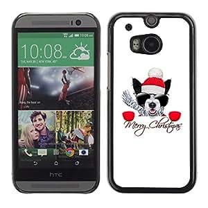Qstar Arte & diseño plástico duro Fundas Cover Cubre Hard Case Cover para HTC One M8 ( Winter Christmas Pug Boston Terrier X-Mas Holiday)