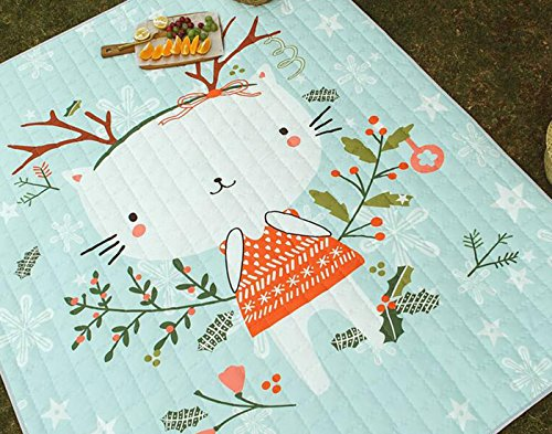 Polyester Varnish - Fresh Pattern Picnic Rugs Rabbit - 100% Polyester Anti-slip Water Resistant Rugs Baby Crawling Rugs 67 X 79 Inch