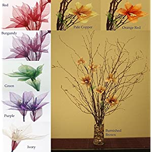 Green Floral Crafts Natural Birch Branches & Star Liilies Combo Pack (Vase Not Included) 97
