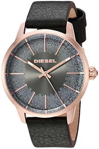 Diesel Women's 'Castilia' Quartz Stainless Steel and Leather Casual Watch, Color:Black (Model: DZ5573)